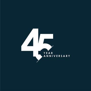 45 Years Anniversary Vector Template Design Illustration