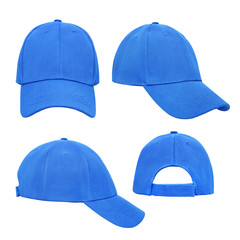 Blue baseball cap 4 view isolated