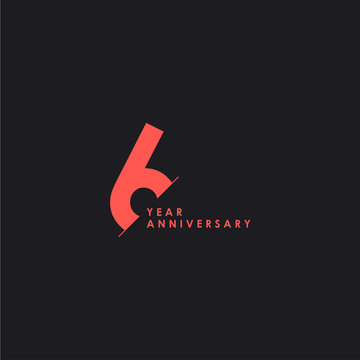 6 Years Anniversary Vector Template Design Illustration