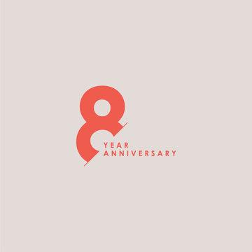 8 Years Anniversary Celebration Vector Template Design Illustration