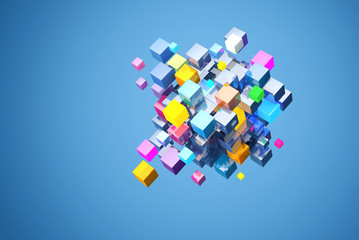 3D rendering abstract block of color cubes, on blue background. File contains a path to isolation cubes. Fotoväggar