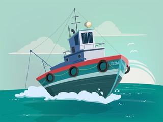 funny cartoon illustration of a fishing boat