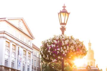 Closeup of lantern on Market square in Lviv, Ukraine
