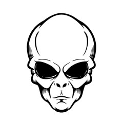 Illustration of alien head isolated on white. Design element for logo, label, sign, poster, flyer. Vector illustration