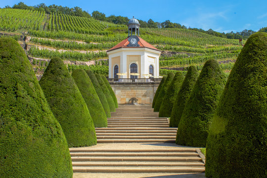 Park with a small chapel in the Saxon vineyards