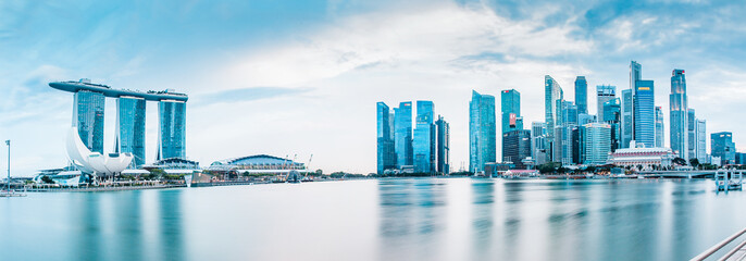 SINGAPORE, SINGAPORE - MARCH 2019: Vibrant panorama background of Singapore skyline at the business bay
