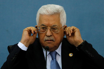 Palestinian President Mahmoud Abbas looks on as he meets with the foreign media in Ramallah, in the Israel-occupied West Bank