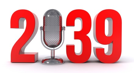 3d illustration of number 2039 with microphone