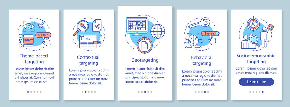Targeting types onboarding mobile app page screen with linear concepts. Human based targeted advertising walkthrough steps graphic instructions. UX, UI, GUI vector template with illustrations