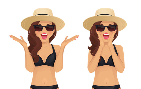 Surprised excited wave hairstyle woman in swimsuit, sunglasses and straw summer hat isolated vector illustration