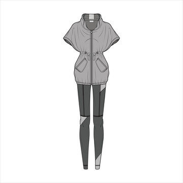 Athleisure set fashion flat sketch template
