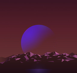 Space scene synthwave landscape background