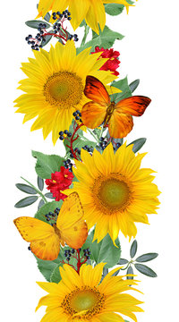 Floral seamless pattern. Vertical border. Garland of sunflowers, green leaves, bright flowers, butterflies