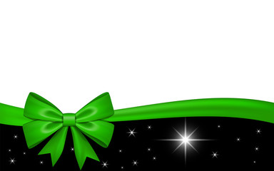 Gift card with green ribbon bow, isolated on white background. Decoration stars design for Christmas holiday celebration, greeting, Valentine Day present, birthday invitation. Vector illustration