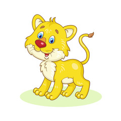 Little cute lion cub. In cartoon style. Isolated on white background. Vector illustration.