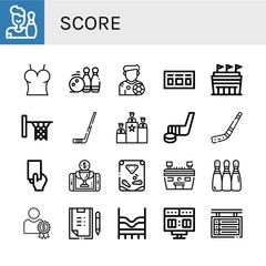 Set of score icons such as Bowling, Top, Bowling pins, Footballer, Scoreboard, Stadium, Hoop, Hockey stick, Rank, Red card, Reward, Pinball, Scoring , score
