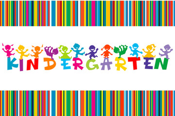 Kindergarten poster with colored cartoon children
