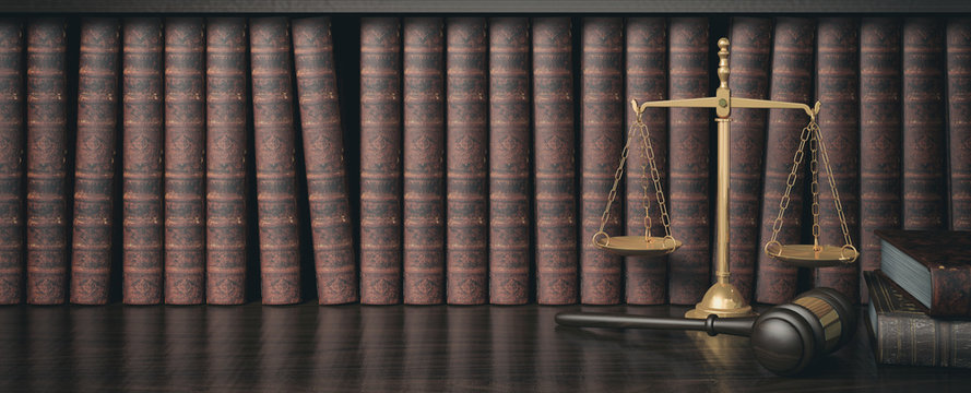 Low key filter law bookshelf with wooden judge's gavel and golden scale , 3D Rendering