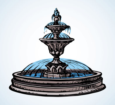 Old round fountain. Vector drawing