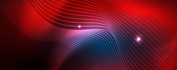 Smooth wave lines on blue neon color light background. Glowing abstract wave on dark, shiny motion, magic space light