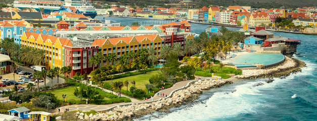 Aerial panorama of Willemstad on Curacao island Wall mural