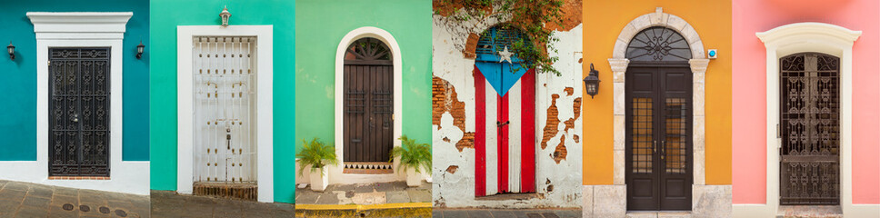 Collage of colorful door in old San Juan, Puerto Rico