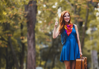 Beautiful redhead girl with suitcase in the park.