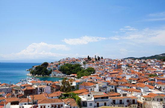 Beautiful panoramic view of old town on Skiathos Island, Northen Sporades, Greece
