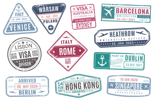 Airport stamps. Vintage travel passport visa immigration arrived stamp with grunge texture. Isolated vector set