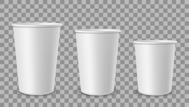 White paper cups. Cup for drinks, lemonade juice coffee tea ice cream container in different size. Empty 3d realistic vector mockup