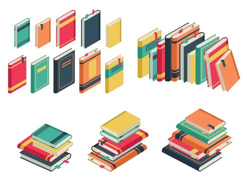 Isometric book set. Books school library publishing dictionary textbook magazine closed page for studying vector collection