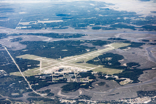 High angle view of the Marine Corp Air Station and runways in Beaufort, South Carolina.