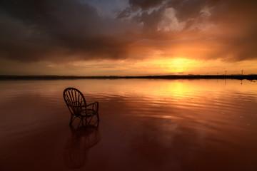 Beautiful salt lake landscape at sunset, pink water color