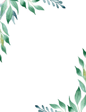 Green leaves watercolor hand drawn raster frame template