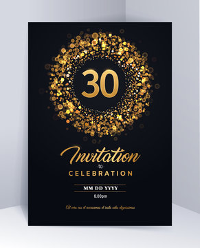 30 years anniversary invitation card template isolated vector illustration. Black greeting card template