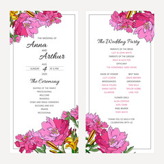 Wedding floral invitation set with peony flwers and lily.