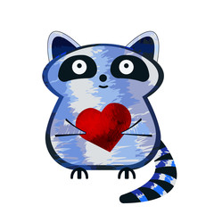 Aluminium Prints Cats Isolated cartoon sticker with little cartoon grey racoon, holding the bright red flat heart. Cute little character with friendship or love symbol. Emblem, sticker, logotype, graphic design object.