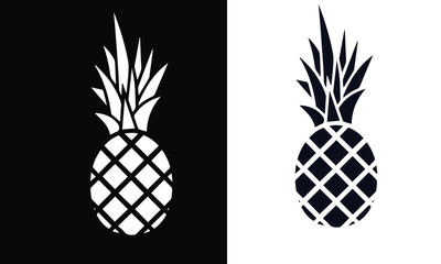 tropical vacation icon set black and white illustration
