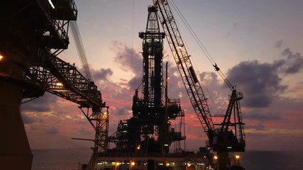 Wall Mural - Tender Drilling Oil Rig (Barge Oil Rig) on The Production Platform at Twilight Time