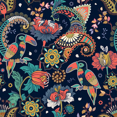Foto op Aluminium Botanisch Fantasy seamless pattern. Decorative floral design for fabric, textile, wrapping paper, card, cover, wallpaper. Colorful stylized flowers and birds. Bright vector decorative background with plants.