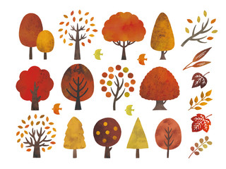 Obraz 水彩の秋の木セット - fototapety do salonu