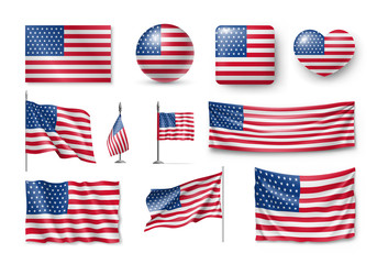 Various American flags set isolated on white