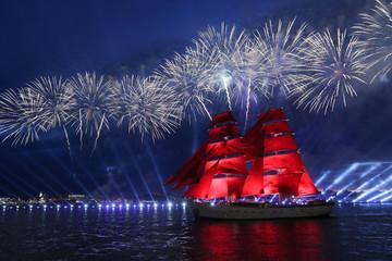 The Scarlet Sails festivities marking school graduation in Saint Petersburg