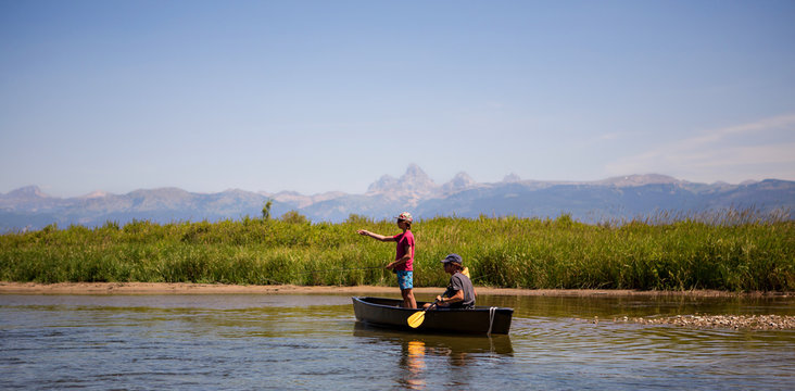 Fishing by the Tetons