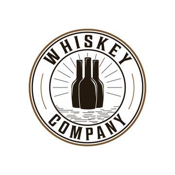 Whiskey, bourbon company badge logo design