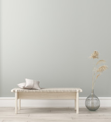 Wall mock in living room interior. Interior Scandinavian style. 3d render