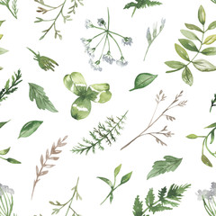 Watercolor seamless pattern with wildflowers and herbs. Texture for wallpaper, packaging, fabric, wedding design, prints, textiles, scrapbooking, birthday, cover design.