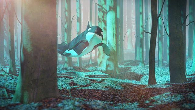 killer whale swimming in forest, orca flying in foggy landscape, surreal 3d render