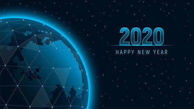 Modern futuristic template for 2020 on background with holographic Earth polygons connection structure. View from space on the planet Earth. Concept future technology. Vector illustration.
