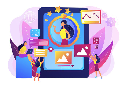 PR managers team working, personal development. Online identity management, digital Identity management, product web presence concept. Bright vibrant violet vector isolated illustration